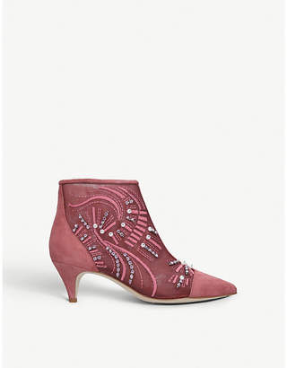 Sam Edelman Kami embellished suede and mesh ankle boots