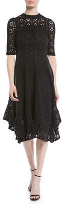 See by Chloe Short-Sleeve Cutout Lace A-Line Dress w/ Ruffled Hem