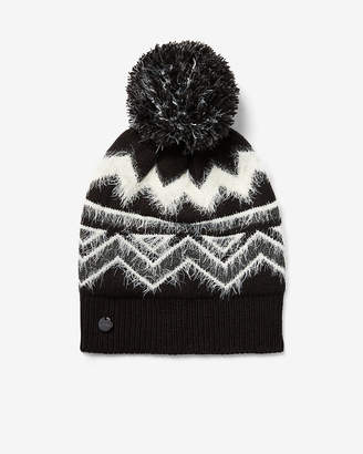 Express Metallic Fair Isle Feather Pom Beanie