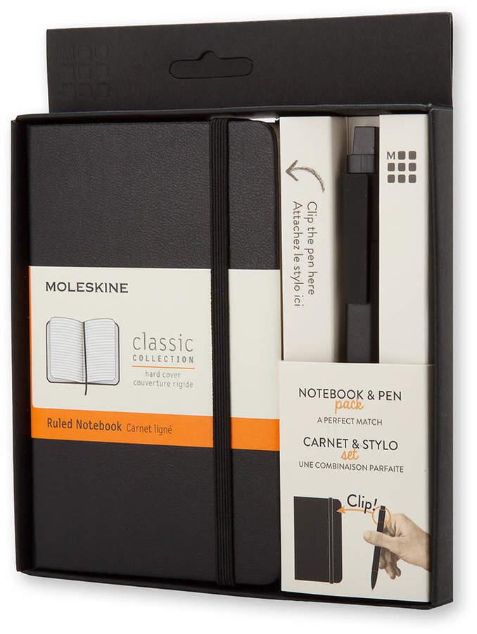 Set mit Notizbuch und Stift, Pocket, Schwarz