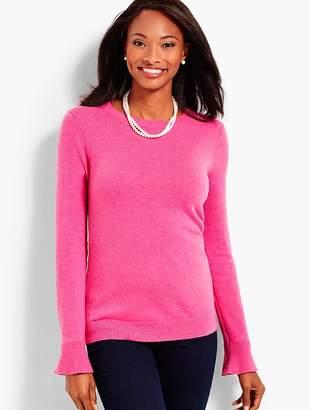 Talbots Flounce-Sleeve Crewneck Sweater