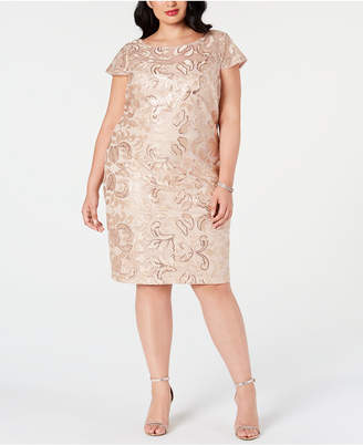 Calvin Klein Plus Size Embellished Embroidered Sheath Dress