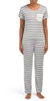 Striped Pajama Set With Pocket