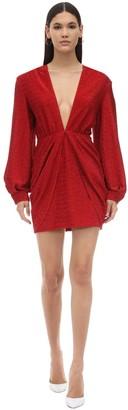 Sara Battaglia Draped Stretch Lurex Mini Dress
