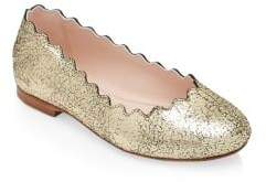 Chloé Kid's Cracked Leather Ballet Flats