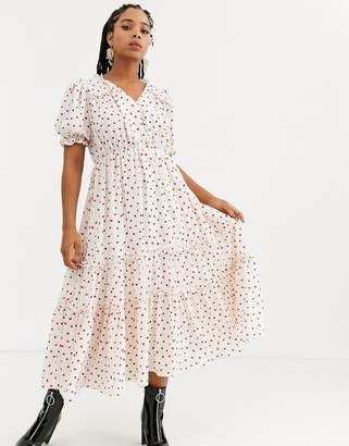 Sister Jane midi tea dress with faux pearl buttons and ruffles in ditsy heart print