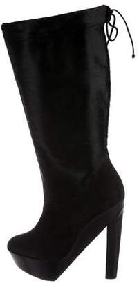 Pierre Hardy Suede & Ponyhair Round-Toe Boots
