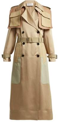 Valentino Multi Pocket Satin Trench Coat - Womens - Beige Multi