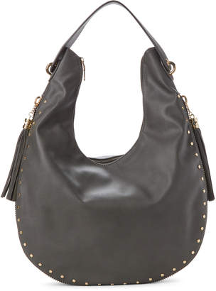 Imoshion Gray Tasseled and Studded Hobo Bag