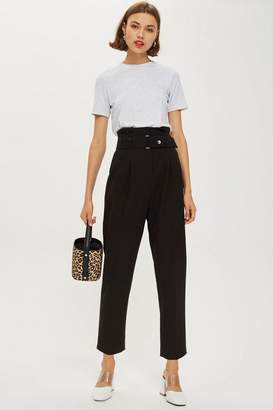 Topshop Popper Waist Peg Trousers