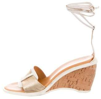Hogan Leather Wedge Sandals