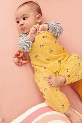 Next Girls Ochre Rainbow Cord Dungarees And Bodysuit (0mths-2yrs) - Yellow