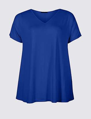 M&S Collection CURVE V-Neck Short Sleeve T-Shirt