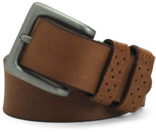 Men's Perforated Hole Keeper Leather Belt