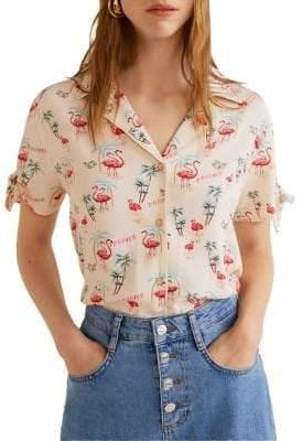 MANGO Knot Graphic Button-Down Shirt
