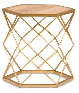 Simpli Home Kristy Metal/Wood Accent Table