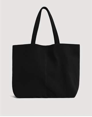 MANGO Sofia Suede Shopper Bag - Black