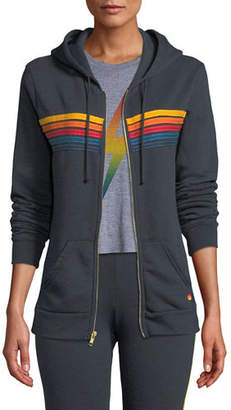 Aviator Nation 5 Stripe Zip-Front Hoodie