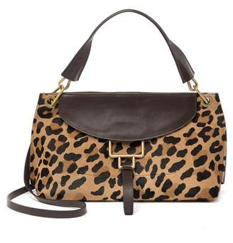 Aquatalia Small Leopard Printed & Genuine Calf Hair Trimmed Crossbody Bag