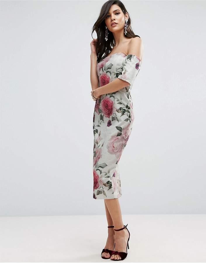 AsosASOS Textured Floral Bardot Midi Dress