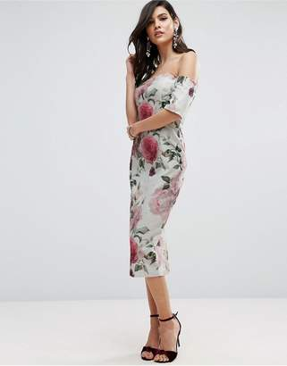 ASOS Textured Floral Bardot Midi Dress $106 thestylecure.com