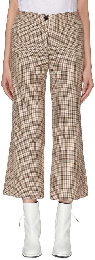 Wool houndstooth check cropped flared suiting pants