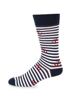Anchor & Stripe Cotton Socks