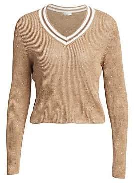 Brunello Cucinelli Women's Contrast Linen & Silk Paillette V-Neck Sweater