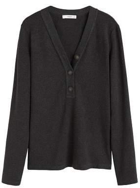 MANGO Buttoned cotton t-shirt