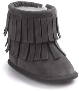 Leapfrog Baby Girls Winter Warm Fleece Tassels Mid Calf Suede Boots Crib Shoes