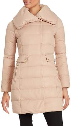 Cole Haan Women's Asymmetric Down Puffer Coat - Blush, Size xs [x-small]