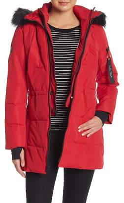 Nautica Faux Fur Bib Puffer Jacket