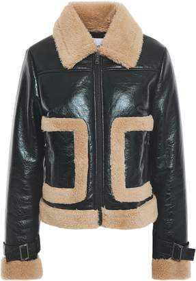 Stand Studio Two-tone Coated Faux Shearling Jacket