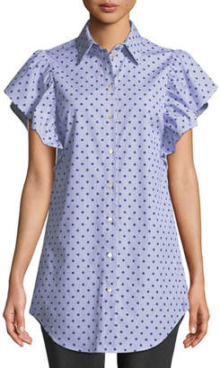 RED Valentino Polka-Dot Striped Poplin Ruffle-Sleeve Top