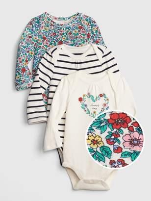 48902b2b Gap Baby Floral Stripe Long Sleeve Bodysuit (3-Pack)