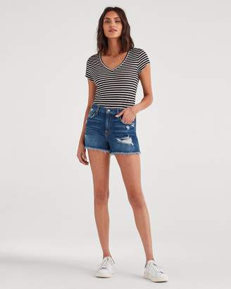 7 For All Mankind High Waist Short with Frayed Hem and Destroy in Blue Monday