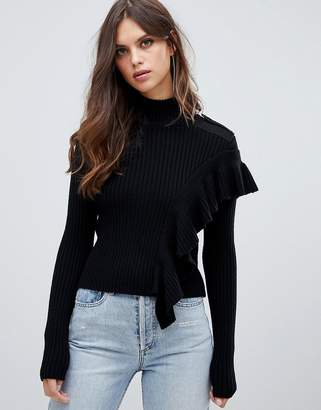 Miss Sixty turtle neck knit with ruffle detail