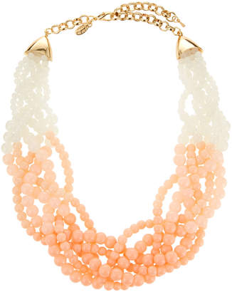 Emily and Ashley Greenbeads By Beaded Twisted Statement Necklace, Blush