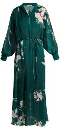 Carine Gilson Floral Print Silk Satin Kaftan - Womens - Green Print
