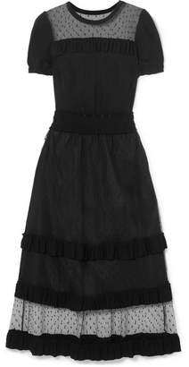 RED Valentino Point D'esprit And Ruffled Stretch-jersey Midi Dress - Black