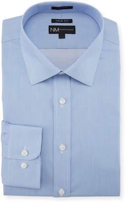 Neiman Marcus Men's Trim-Fit Regular-Finish Dobby-Textured Solid Sport Shirt, Blue