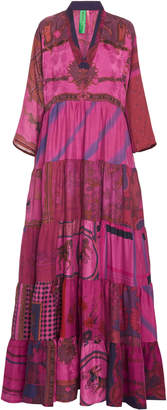 Rianna + Nina Exclusive One Of A Kind Dyed Patchwork Volant Dress