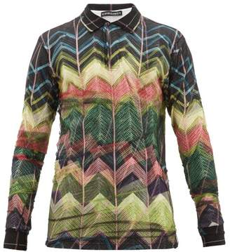 Y/Project Tulle Overlay Long Sleeve Cotton Jersey Polo Shirt - Mens - Multi
