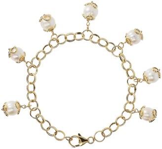 "Honora 7-1/4"" Cultured Pearl Charm Bracelet, 14K"