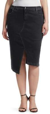 Marina Rinaldi Ashley Graham x Ashley Graham X Asymmetric Denim Skirt