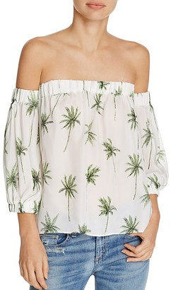 MILLY Palm Print Silk Off-The-Shoulder Top $325 thestylecure.com