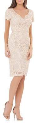 JS Collections Mesh Embroidered Cocktail Dress