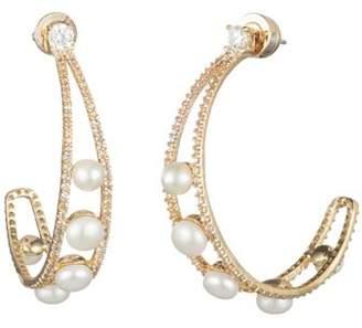 Carolee Cultured Freshwater Pearl Hoop Earrings