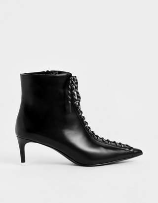 Charles & Keith Nylon Lace-Up Ankle Boots