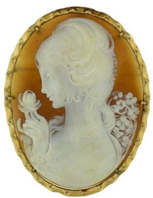 14K Yellow Gold Shell Cameo Pin And Pendant